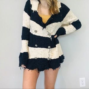 Free People knit striped military style cardigan